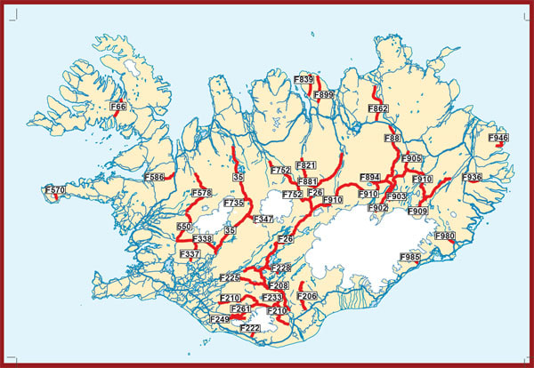 Map of F Roads - Iceland